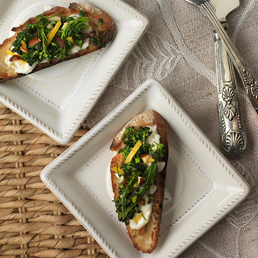 Broccolini on Burrata Toasts