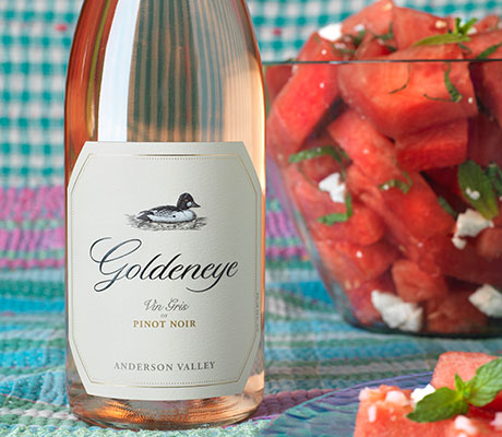 Watermelon Salad recipe paired with Goldeneye Vin Gris of Pinot Noir