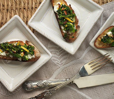 Broccolini on Burrata Toasts recipe