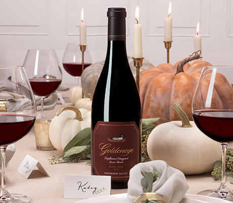 Goldeneye Pinot Noir on a holiday table