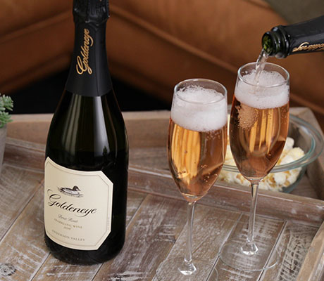 Goldeneye Sparkling wine with two glasses of sparkling