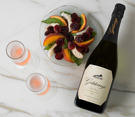 Summer Peach Pinwheel recipe paired with Goldeneye Brut Rose Sparkling Wine