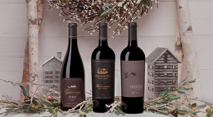 Duckhorn Portfolio wines on a white holiday mantel