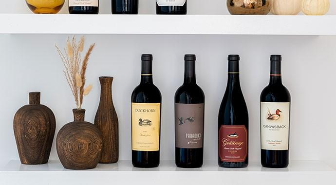 Four Duckhorn Portfolio wines on a shelf
