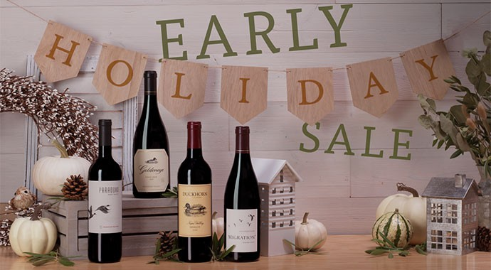 four wine bottle of Duckhorn Portfolio with an early holiday sale banner