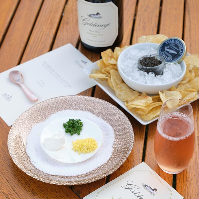 Goldeneye Bubbles and Caviar tasting