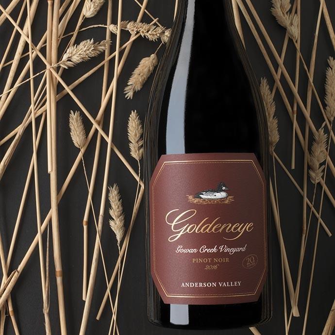 2016 Goldeneye Anderson Valley Pinot Noir Gowan Creek Vineyard in hay