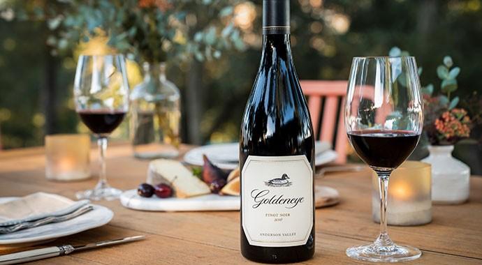 Goldeneye bottle outside on table