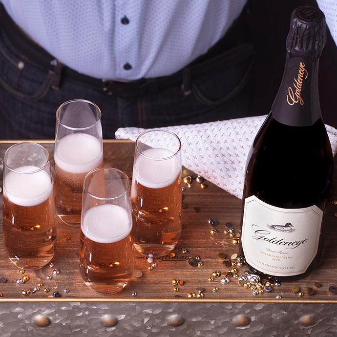 Goldeneye sparkling wine on a wine cart