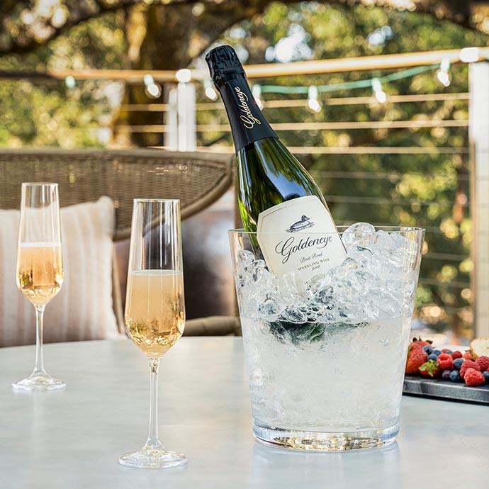 Goldeneye Sparkling wine in an ice bucket with two glasses