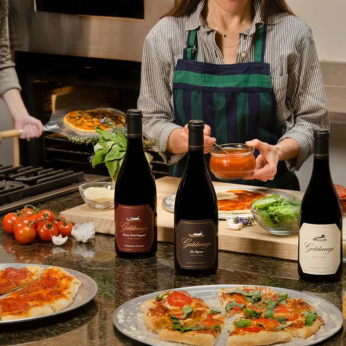 Goldeneye wines paired with pizza for a night in